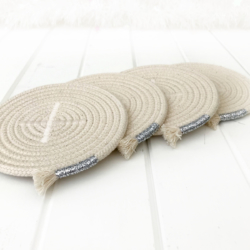 Sparkly silver trimmed coiled rope drink coasters, set of 4, Australian made rope, ready to send