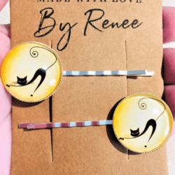Cute Cat Silhouette Hairpins / Clips – Yellow (sold in pairs)