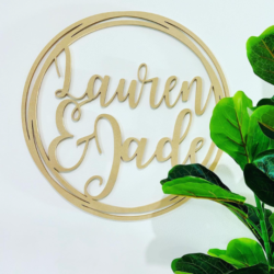 Personalised Special Event Wooden Hoop Sign – Event Signage Birthday Name – Custom Made MDF Christmas Baby Shower Hens Party Wedding Engaged