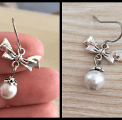 Pretty Pearl and Bow Dangle Earrings – Stainless Steel