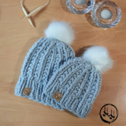 """Malmø"" Mum & Me – Hand Knitted Beanies with Faux Fur Pom Pom in Lovely Soft & Warm Acrylic Light Grey"