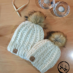 """Malmø"" Mum & Me – Hand Knitted Beanies with Faux Fur Pom Pom in Lovely Soft & Warm Acrylic Cream"
