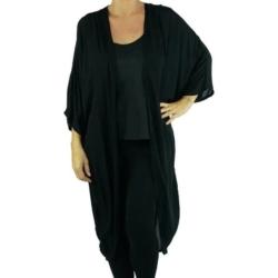 Plain Black Long Kimono Cape