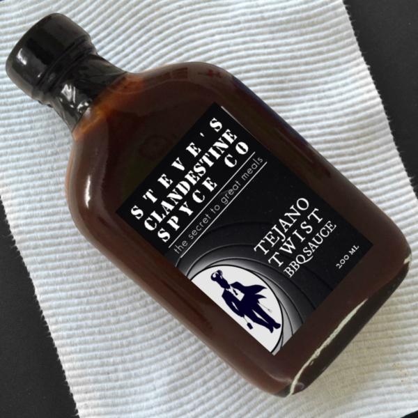 bottle of Tejano Twist BBQ Sauce Texas Fireball
