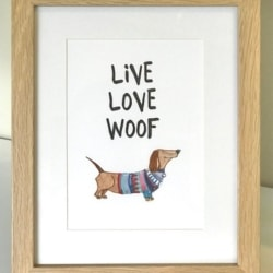 framed print. Live Love Woof
