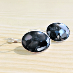 Pretty Faux Marble Oval Lever back Earrings – 5 Colours – Silver