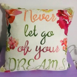 Cushion & Insert -Never Let Go Of Your Dreams /Word Quote/ New /Cotton Linen