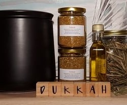 Dukkah – mild blend. Suit most palates. 120gm jar with a screw top lid. Price includes postage all over Australia from Dawn View Olive Oil.