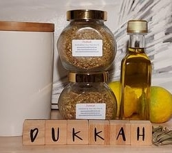 Dukkah – mild blend. Suit most palates – 80gm jar. Price includes postage all over Australia from Dawn View Olive Oil.