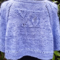 Pale Blue Cashmere short poncho /wrap with leaf panels