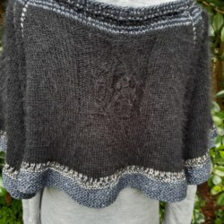 Handknitted black cashmere capelet/poncho