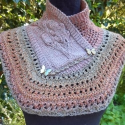 Hand knitted wool cowl in gorgeous tonings .