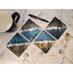 "Ceramic Coaster ""Beach Shoreline"""