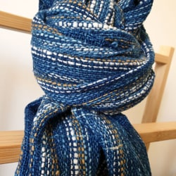 Handwoven scarf in blue indigo and brown