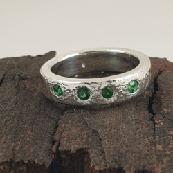 Sterling Silver Ring with 4 Tzavorite Garnets
