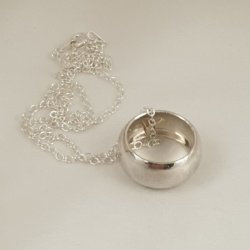 Sterling Silver Domed Ring on Sterling Silver Chain (45cm)