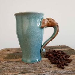 Green Elephant Mugs Artisans Handmade Ceramics (with Handmade Mulberry Paper Packaging)
