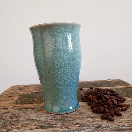 elephant tall handmade coffee mug in green