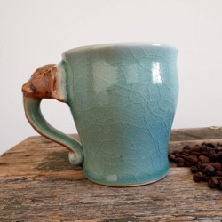 Green Elephant Large Mug Artisans Handmade Ceramics (with Handmade Mulberry Paper Packaging)