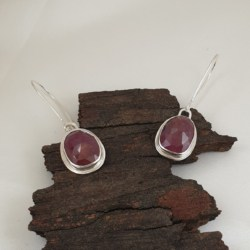 Sterling Silver and Red Sapphire Earrings