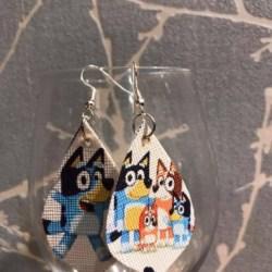 Bluey leather earrings