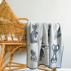 Branberry – Australian Animals Pure Wool Blanket   Quartz Grey