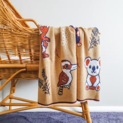 Branberry – Australian Animals Pure Wool Blanket   Red Ochre