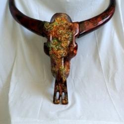 Carved Wood Buffalo Skull Large (BSL001)