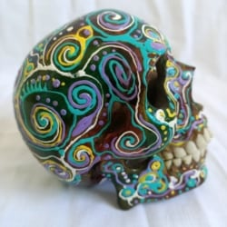 Carved Wood Human Skull Small (HSS005)