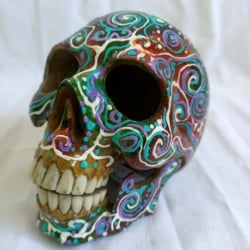 Carved Wood Human Skull Small (HSS009)