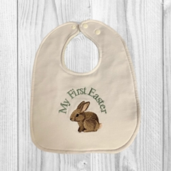 HANDMADE COTTON JERSEY BABY BIB – EMBROIDERED ' EASTER BUNNY '