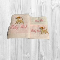 EMBROIDERED BATH TOWEL SET x 3 – BAMBI WITH BUTTERFLY