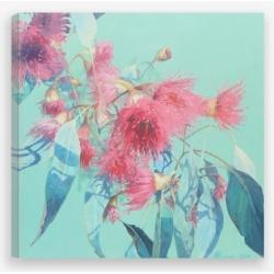 Pink & Aqua Gum Flowers Art Print