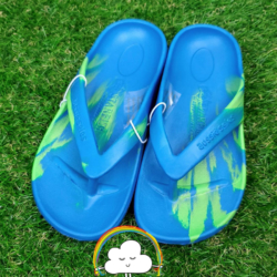 Aussies Soles – Blue/Green – Size 33 – Starfish Orthotic Thongs Junior