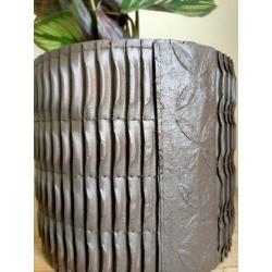 Stitched Paper Grow Cylinder Mahogany 14cm x 13cm