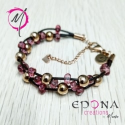 Rose gold and pink, stainless steel, leather bracelet