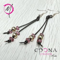 Rose gold and pink, stainless steel, leather earrings