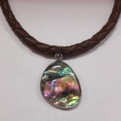 Plaited Leather and Paua Shell Necklace