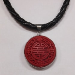 Plaited Leather with Oriental Pendant Necklaces