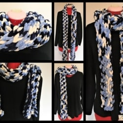 Striking Blue and White Finger Knit Scarf
