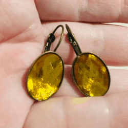 Pretty Faceted Oval Lever back Earrings – 7 Colours – Bronze