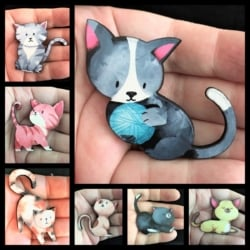 Cute Cat Brooches / Shawl Pins / Embellishments – 7 styles