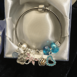 Pretty European Charm Solid Bracelet – Blue Pink- Gift Boxed