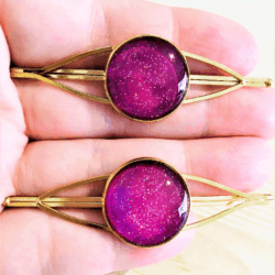 Eye catching Fluoro Purple Golden Hair Pins – sold in pairs – Suits most hair types