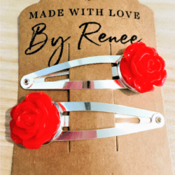 Pretty Rose Hairclips – 4 colours – sold in pairs