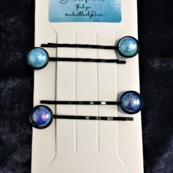 Pretty Metallic Pearl Black Enamel Hair Pins / Bobby Pins – suits most hair types (Sold as the panel pictured)