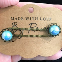 Elegant Filigree Light Blue Metallic Pearl Hair Pins – Bronze – suits most hair types (sold in pairs)