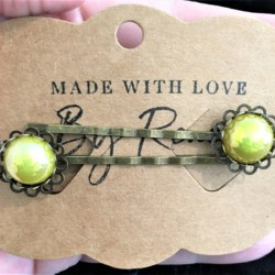 Elegant Filigree Yellow Metallic Pearl Hair Pins – Bronze – suits most hair types (sold in pairs)