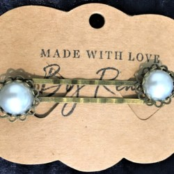 Elegant Filigree Ivory Faux Pearl Hair Pins – Bronze – suits most hair types (sold in pairs)