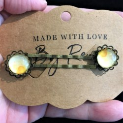 Elegant Filigree Yellow Watercolour Hair Pins – Bronze – suits most hair types (sold in pairs)
